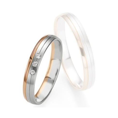 Alliance de mariage Breuning - Or gris/or rose 3.5mm diamant - 1377409135B