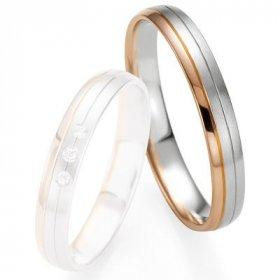 Alliances Breuning - Alliance de mariage Breuning - Or gris/or rose 3.5mm - 1303409235B