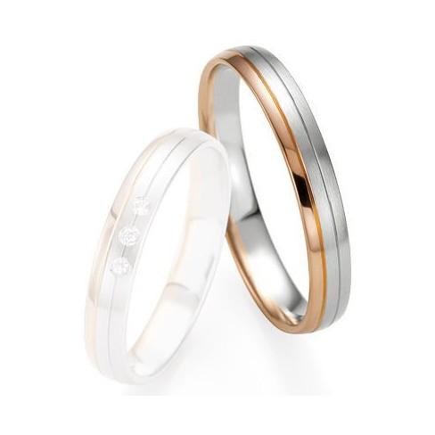 Alliance de mariage Breuning - Or gris/or rose 3.5mm - 1303409235B