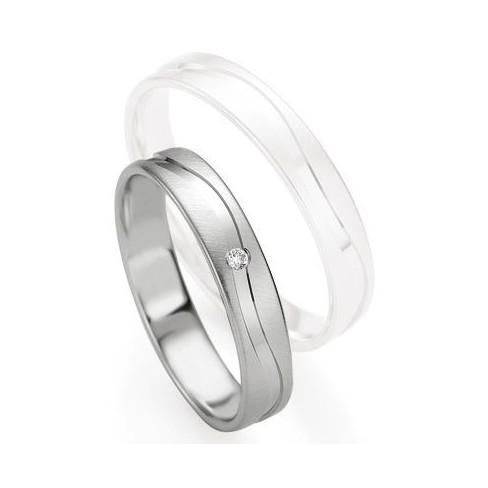 Alliance de mariage Breuning - Or gris 4.0mm diamant - 1377408140G