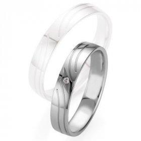 Alliance de mariage Breuning - Or gris 4.0mm diamant - 1377408740G