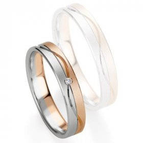 Alliances Breuning - Alliance de mariage Breuning - Or gris/or rose 4.0mm diamant - 1377409340B