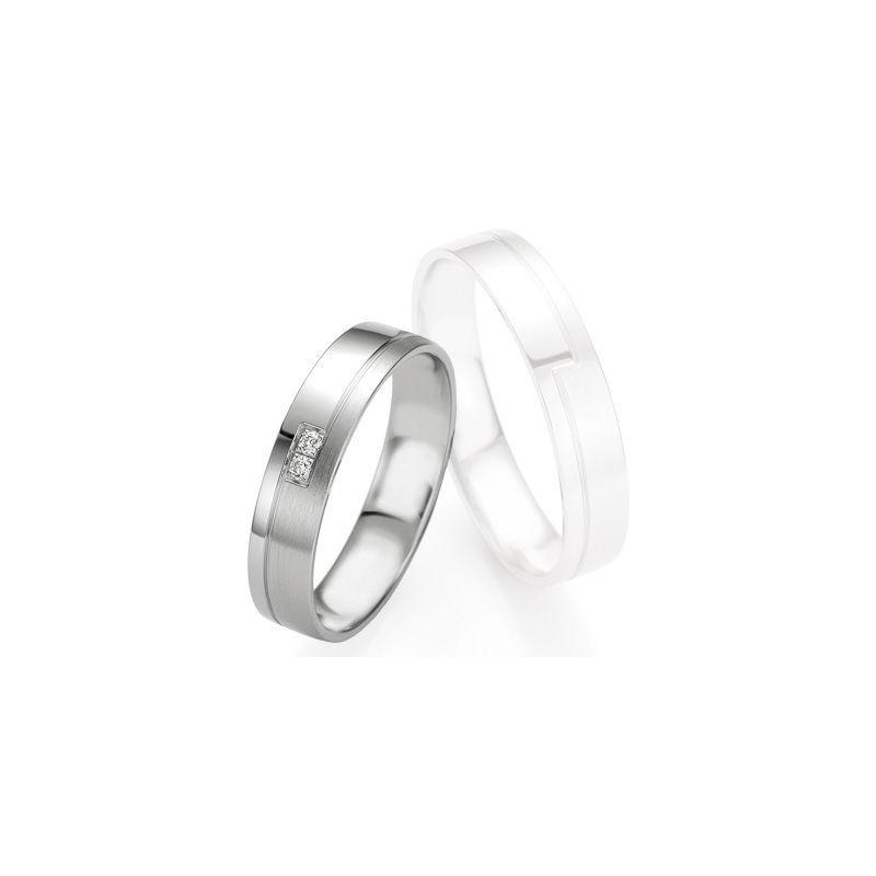 Alliance de mariage Breuning - Or gris 4.5mm + diamant - 1377408345G