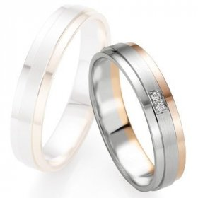 Alliances à moins de 600€ - Alliance de mariage Breuning - Or gris/or rose 4.5mm diamant - 1377409545B