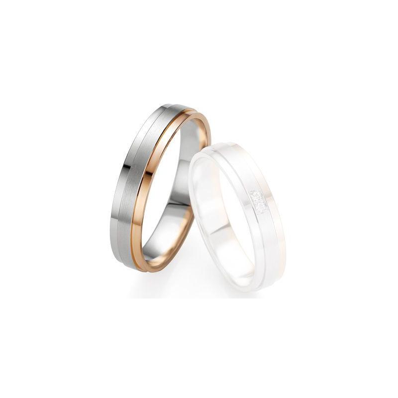 Alliance de mariage Breuning - Or gris/or rose 4.5mm - 1303409645B