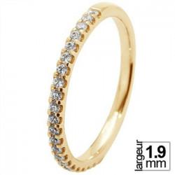 Fine alliance de mariage Or jaune serti 4 griffes 21 diamants blancs
