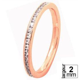 Alliance Diamant tour complet - Alliance de mariage Or rose...