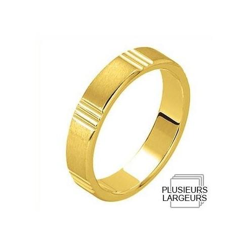 Alliance Or jaune satinée avec motif géométrique - 04030620J