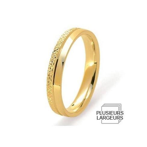 Alliance Or jaune demi-bombée moitié polie et moitié diamantée - 04030616J