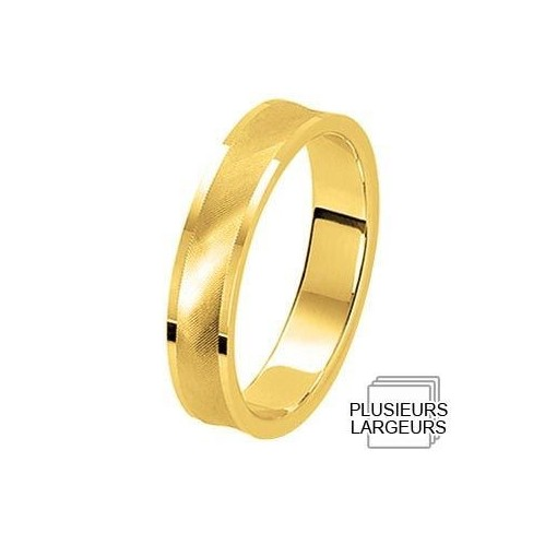 Alliance Or jaune incurvée au centre - 04030614J