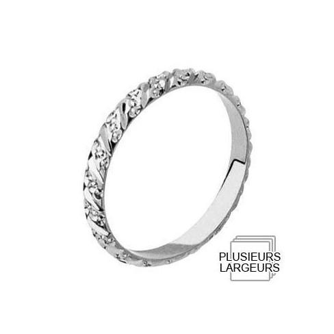 Alliance Or blanc demi-jonc diamanté - Boutique Alliance