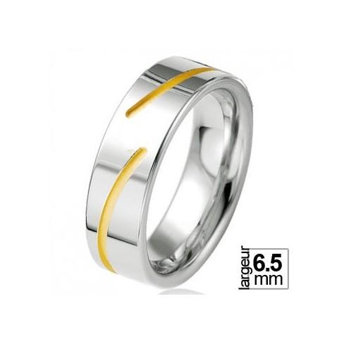Alliance de mariage Argent & plaqué Or