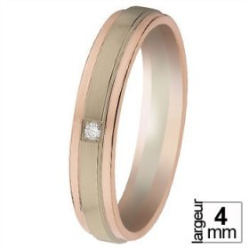 Alliance homme Diamant - Alliance de mariage 2 Ors...