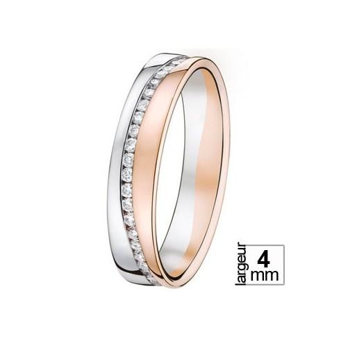 Alliance de mariage 2 Ors Diamant