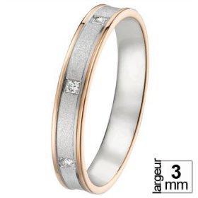 Alliance Diamant Or blanc - Alliance de mariage 2 Ors...