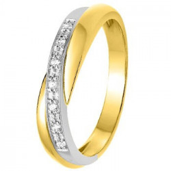 Alliance de mariage lumineuse Or jaune, Or blanc et Diamants-11770691B