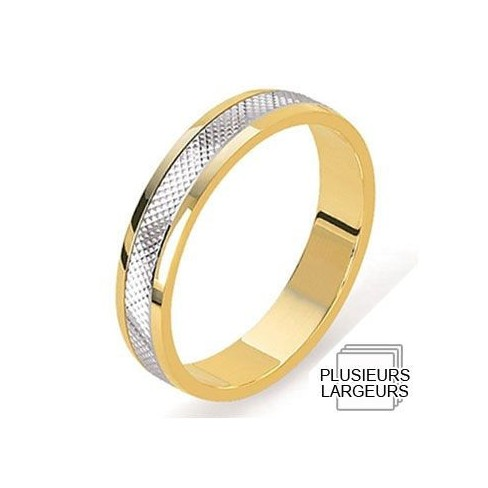 Alliance Or jaune et Platine motif pointe de diamant - 04030605K