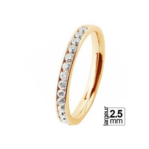 Alliance de mariage femme Or jaune Diamants blancs demi-tour éclatante