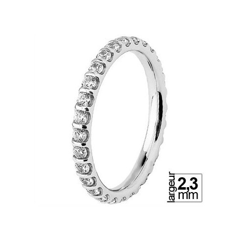 Alliance de mariage Or blanc 750 tour-complet Diamant