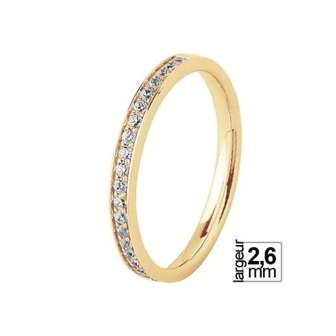 Alliance de mariage Brillante Diamantée Or jaune 18 carats pour femme