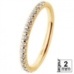 Alliance de mariage Or jaune 750 demi-tour Diamant