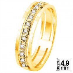 Alliance de mariage Or jaune 750 Diamant