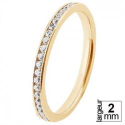 Alliance de mariage Or jaune 750 demi-tour Diamant