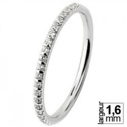 Alliance de mariage Or blanc 750 demi-tour Diamant