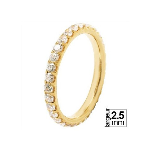 Alliance de mariage Or jaune 750 tour-complet Diamant