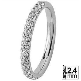 Alliance femme Or blanc diamant - Alliance de mariage Or...