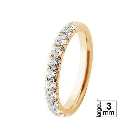 Splendide alliance de mariage femme Or jaune serti griffes 12 diamants