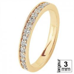Fine alliance de mariage resplendissante Or jaune 16 Diamants blancs