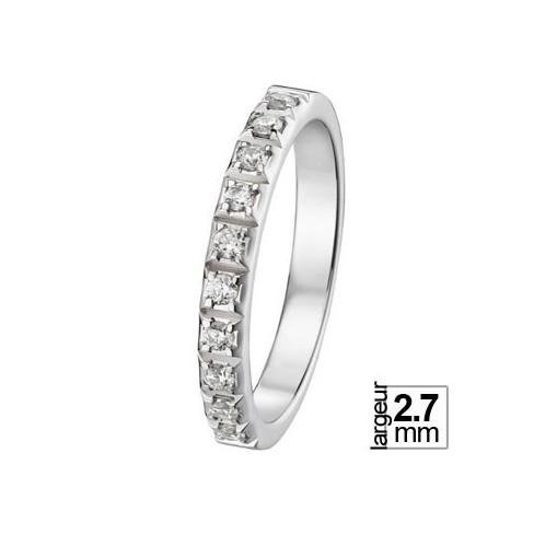 Alliance de mariage Or blanc 750 Diamant