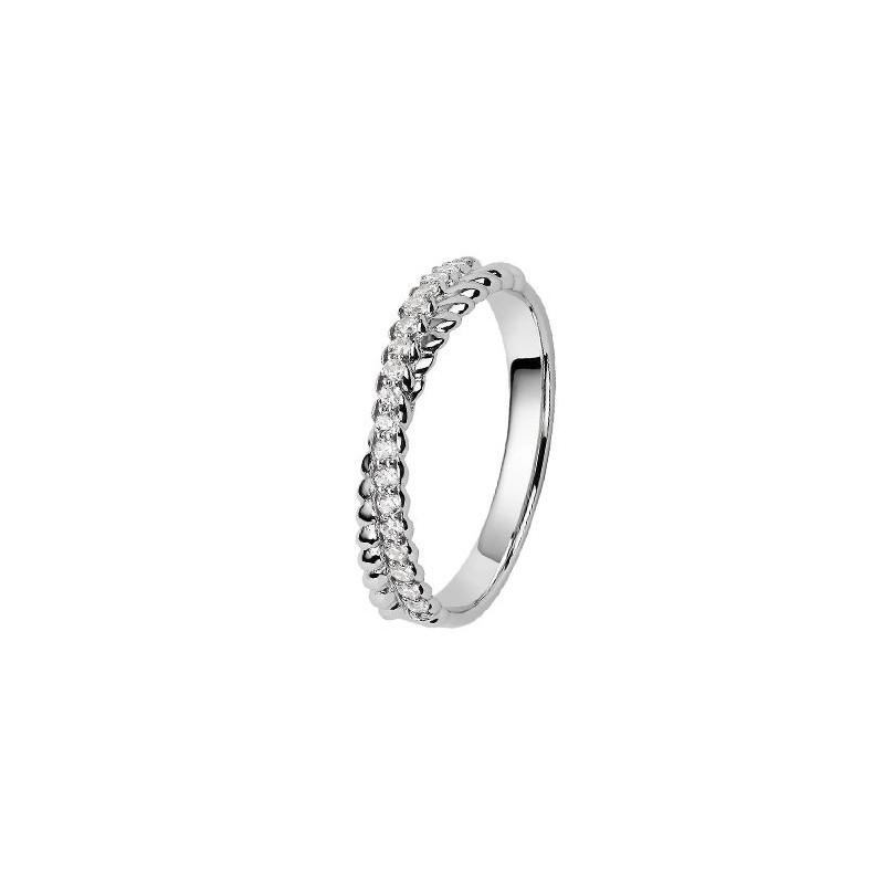 alliance de mariage or blanc et diamant style tresse