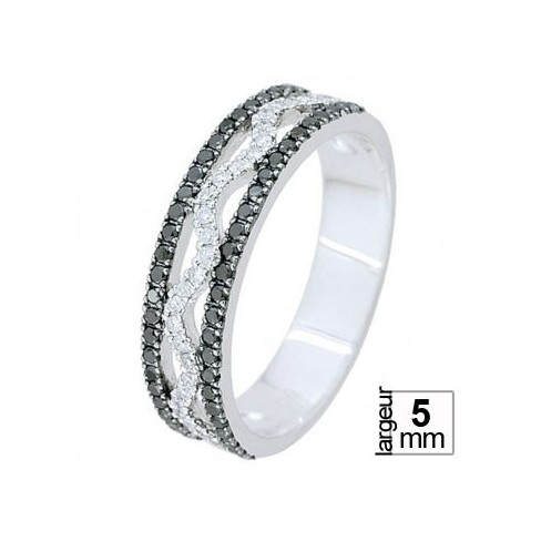 Alliance Or blanc 5 mm et Diamants Noirs