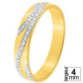 Alliance femme Diamant - Alliance de mariage 2 Ors...
