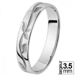 Alliance de mariage Or blanc taillage feuille - 06033471