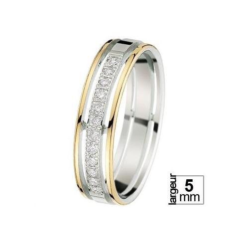 Alliance de mariage 2 Ors 750 Diamant
