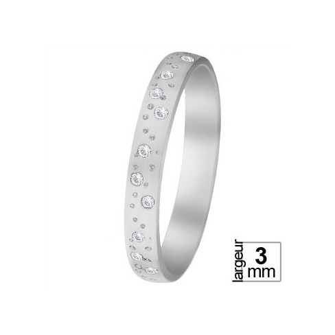 Alliance de mariage Or blanc 750 tour complet Diamant