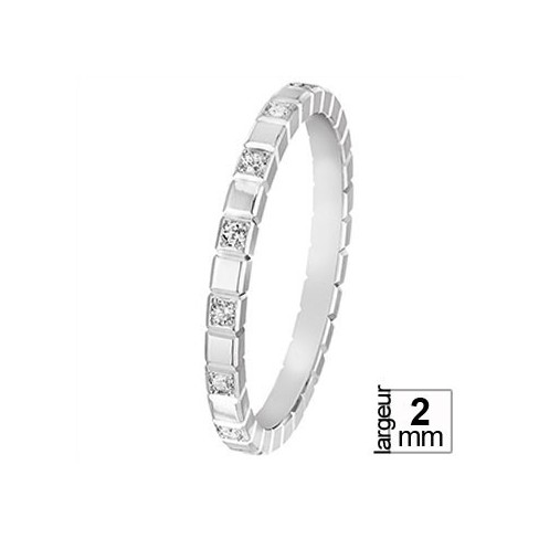 Alliance de mariage Or blanc 750 demi-tour Diamant