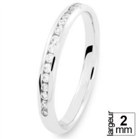 Alliance Or blanc Diamant - Alliance de mariage Or...