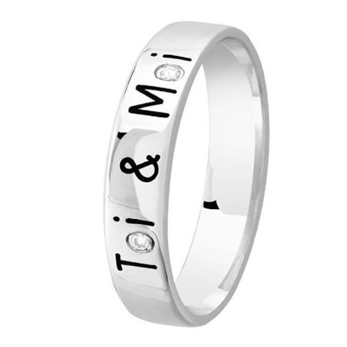 Alliance de mariage Or blanc Diamant gravée Toi & Moi