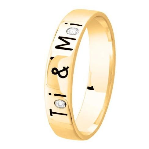 Alliance de mariage Or jaune Diamant gravée Toi & Moi