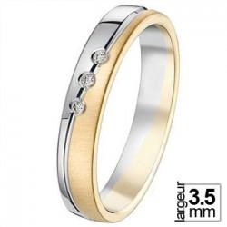 Alliance de mariage 2 Ors 750 Diamants - 07777117B - Boutique Alliance