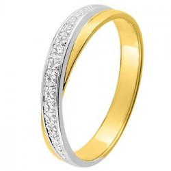 Alliance bicolore deux anneaux Or jaune et Or blanc avec diamants