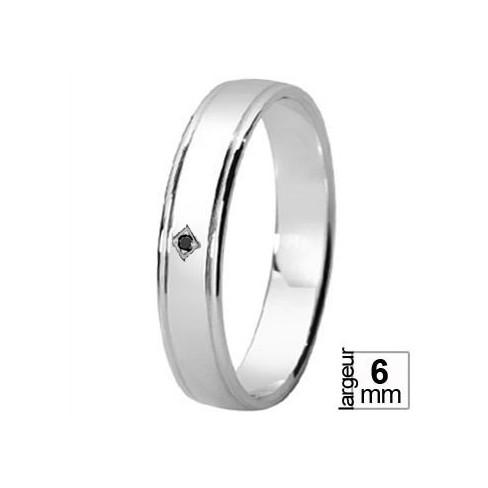 Alliance de mariage pas chère Argent avec Diamant noir taille 53