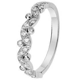 Alliance Diamant - Alliance de mariage Or blanc et Diamant motif floral