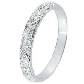 Alliance Diamant Or blanc - Alliance de mariage Or...