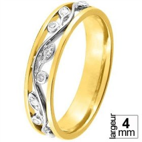 Alliance Or jaune Diamant - Alliance de mariage 2 Ors...