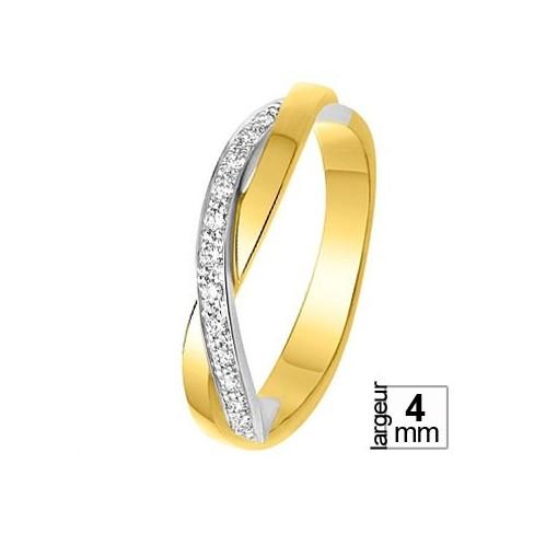 Alliance de mariage Or jaune, Or blanc et diamants - 11770692B - Boutique Alliance